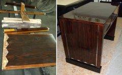 Art Deco Schreibtisch  Makassar während der Restaurierungsarbeiten und restauriert