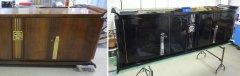 Art Deco Sideboard Nussbaum - Originalzustand und restauriert, schwarz hochglanz poliert