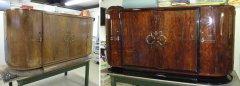 Art Deco Sideboard unrestauriert und restauriert