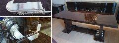 Art Deco Tisch Makassar Fussteil mit Blattsilber hochglanz poliert