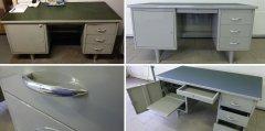 Mauser Schreibtisch unrestauriert und restauriert