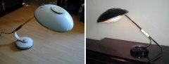 Schreibtischlampe Frankreich von Ferdinand SOLERE vor der Restaurierung (links);  Schreibtischlampe, SOLERE, restauriert, neu elektrifiziert, poliert, vernickelt, schwarz hochglanz (rechts)