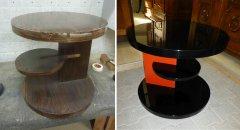 Art Deco Beistelltisch, zweifarbig restauriert
