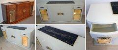 Art Deco Sideboard vor und nach der Restaurierung in cremeweiss hochglanz