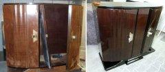 Art Deco Sideboard während der Restaurierungsarbeiten und fertig restauriert