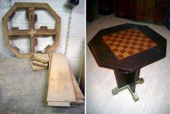 Art Deco Spieltisch vor der Restaurierung und restauriert