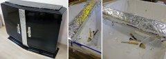 Art Deco Sideboard schwarz hochglanz restauriert Versilberung mit Blattsilber