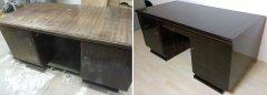 Bauhaus Schreibtisch unrestauriert und restauriert Makassar hochglanzpoliert