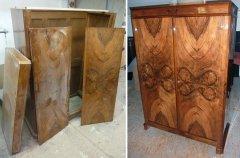 Antiker Kleiderschrank Nußbaum unrestauriert und restauriert