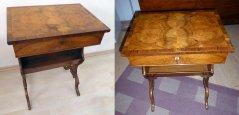 Antiker Nähtisch, vor der Restaurierung und restauriert