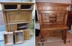 Antiker Sekretär aus Wurzelholz, vor der Restaurierung und fachgerecht restauriert