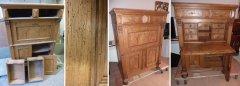 Antiker Sekretär unrestauriert mit Holzwurmbefall und hochwertig restauriert