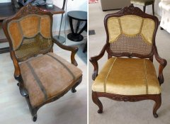 Antiker Stuhl unrestauriert und restauriert