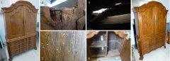 Aufsatzkommode Barock vor der Restaurierung und hochwertig restauriert