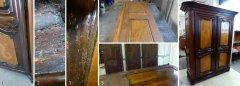 Barockschrank unrestauriert mit deutliche Schäden und hochwertig restauriert