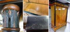 Biedermeierschrank unrestauriert und restauriert