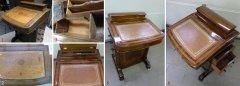 Englisches Schreibpult um 1890 unrestauriert mit Schäden und hochwertig restauriert
