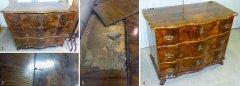 Kommode Nussbaum ca. 1750 unrestauriert mit Furnierschäden und restauriert
