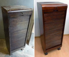 Rolladenschrank unrestauriert und restauriert