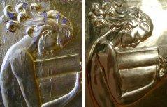 "Vor der Neuvergoldung ""Frau mit Buch"" (links);  Aufwendige, fertige Blattvergoldung 24 Karat, hochglanz (rechts)"