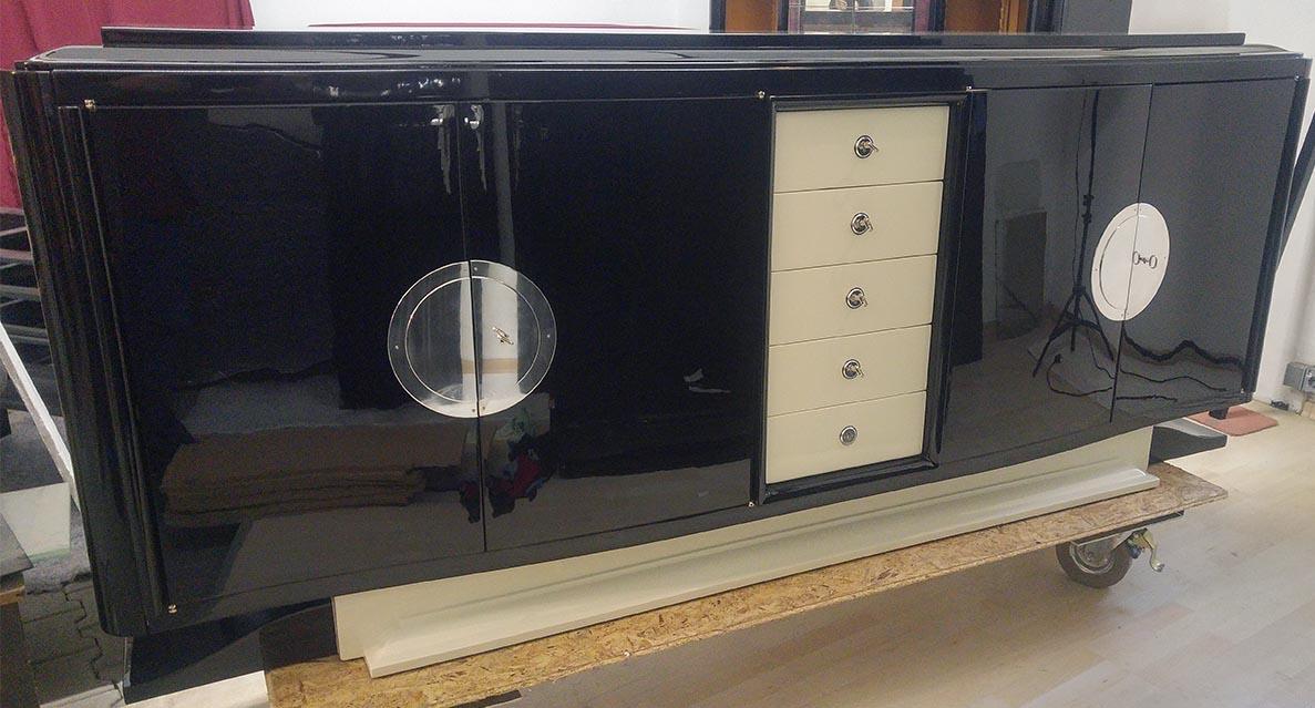 Art Deco Sideboard, schwarz, hellelfenbein, hochglanz, restauriert, lackiert