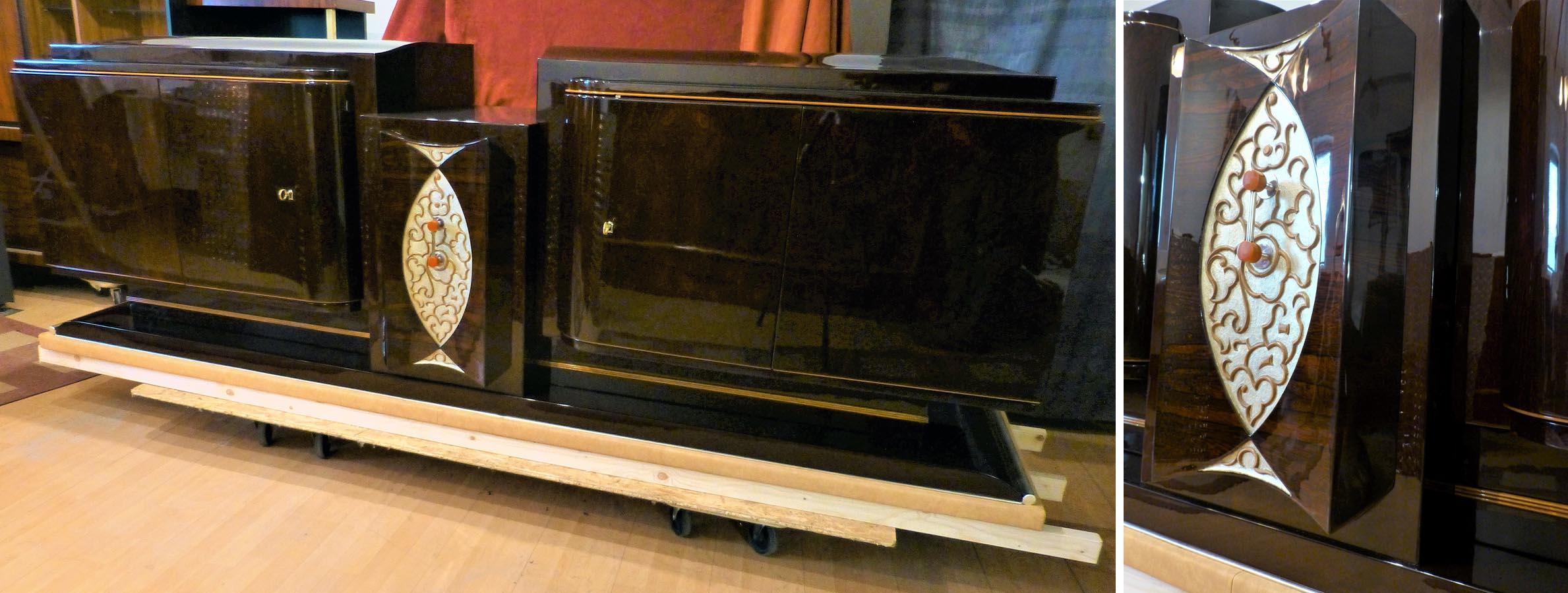 Art Deco Sideboard, Palisander restauriert, lackiert , poliert