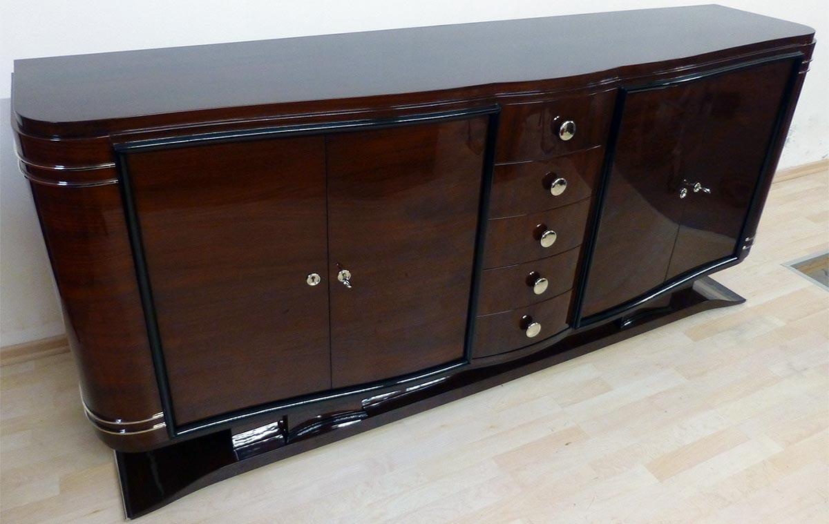 Art Deco Sideboard, fertig restauriert, Palisander hochglanz, poliert
