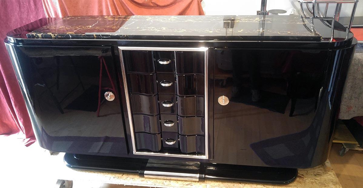 Art Deco Sideboard, schwarz hochglanz restauriert