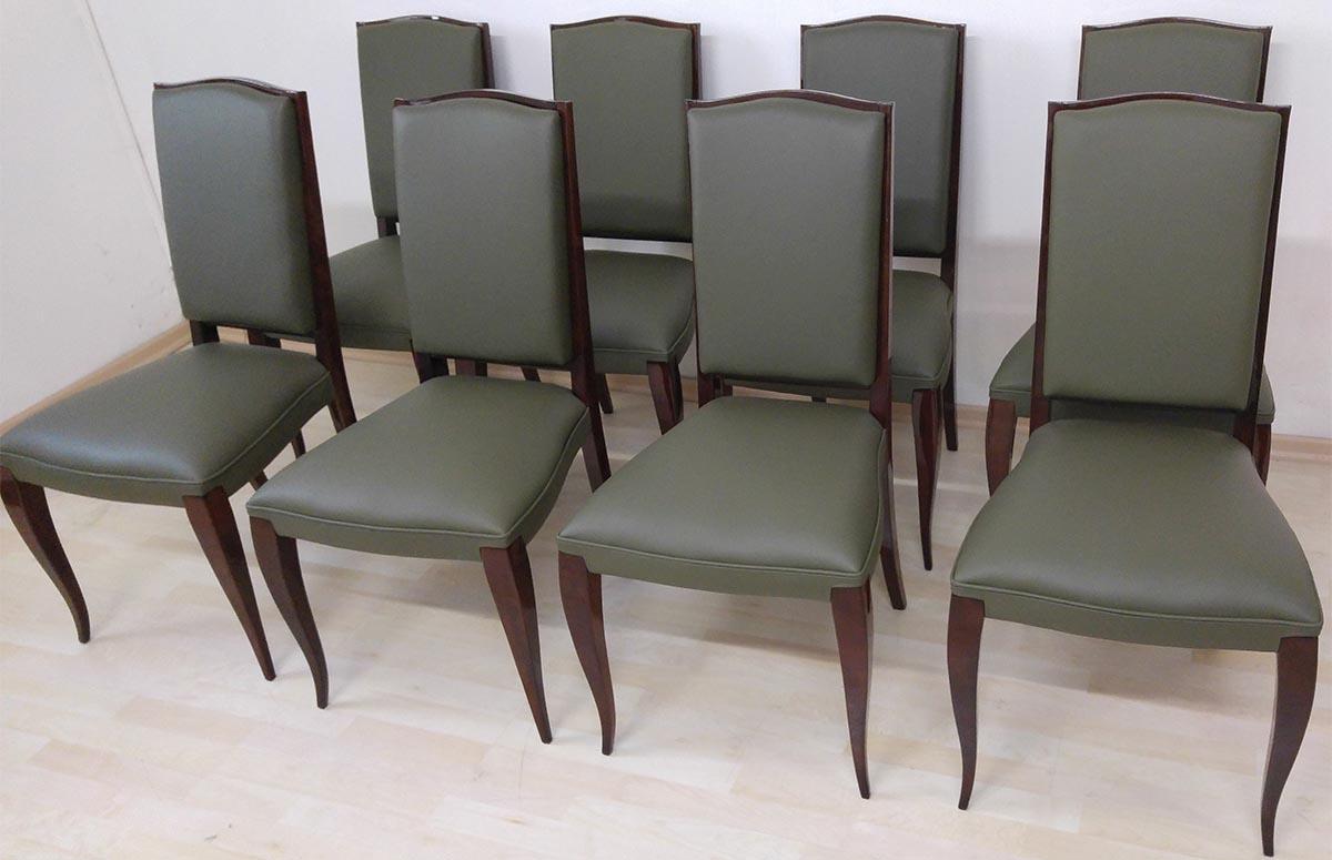 Art Deco Stühle, Palisander hochglanz,  neuer Lederbezug