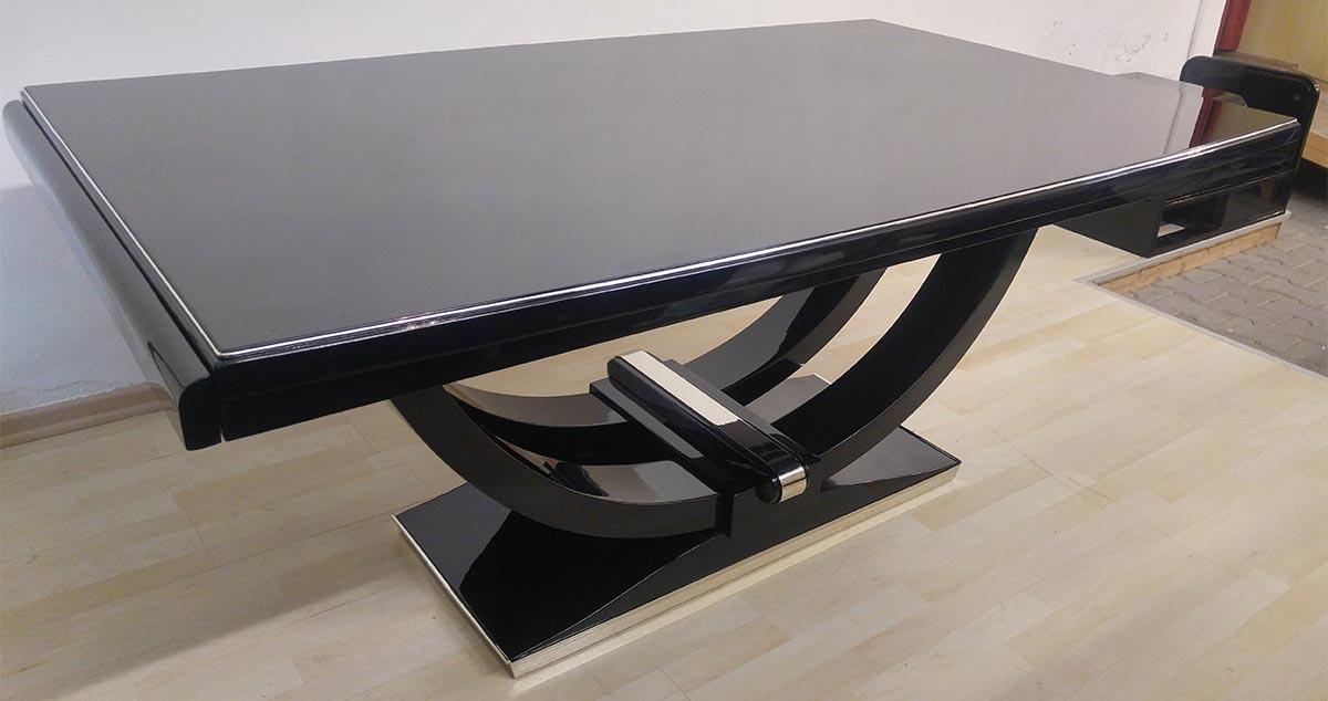 Art Deco Tisch, schwarz hochglanz restauriert