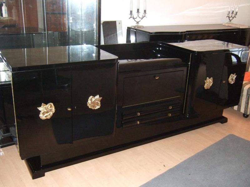 Art Deco Sideboard, restauriert in schwarz hochglanz, Artdeco