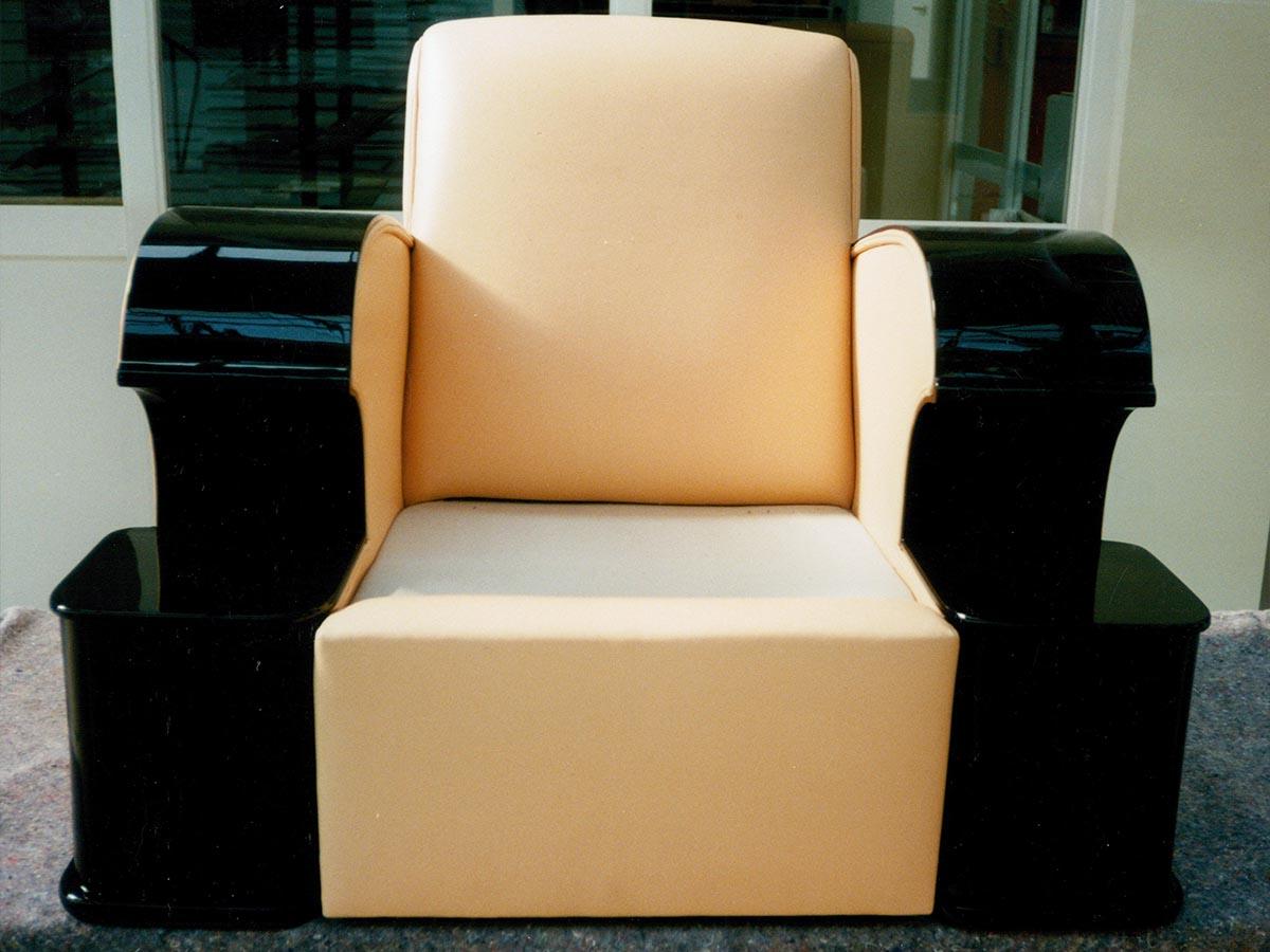 Art Deco Sessel schwarz hochglanz, Leder Lachsfarben