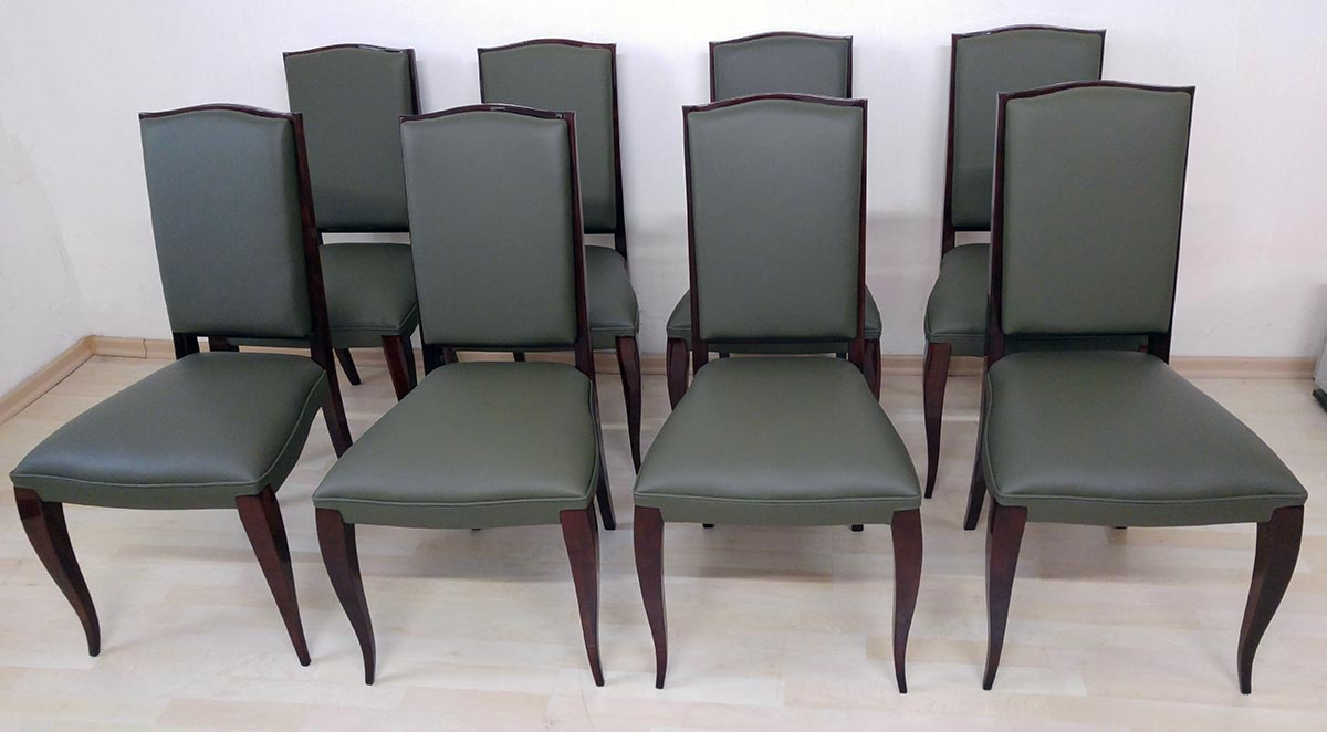 Art Deco Stühle, Palisander, Bezug grünes Leder