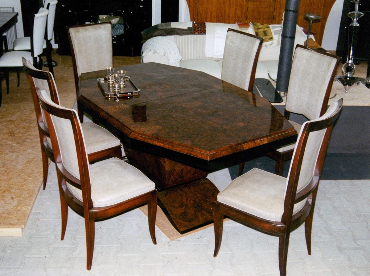 Art Deco Tisch, Nußbaum Wurzelholz