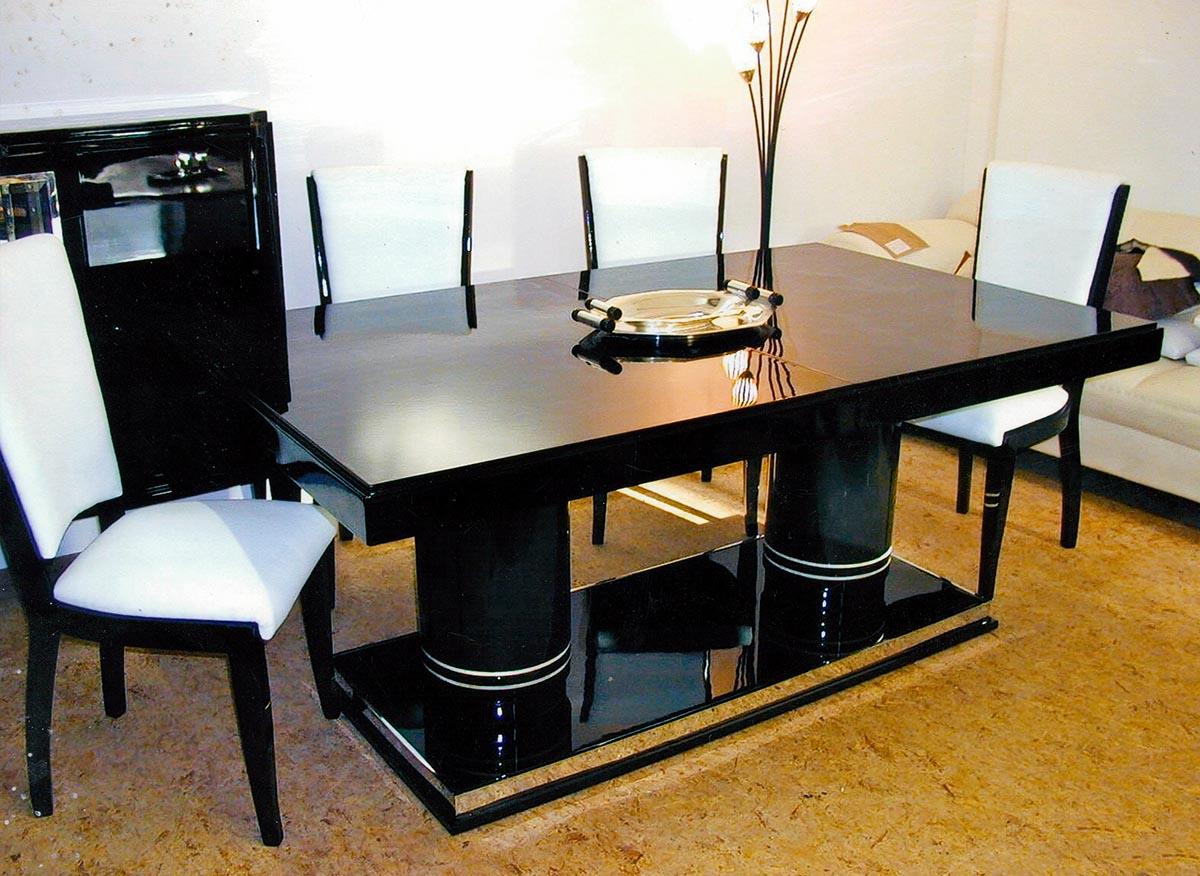 Art Deco Tisch mit Metallsockel und Elfenbeinringen