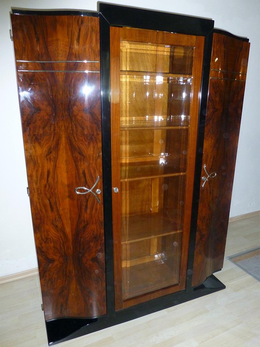 Art Deco Vitrinenschrank, restauriert