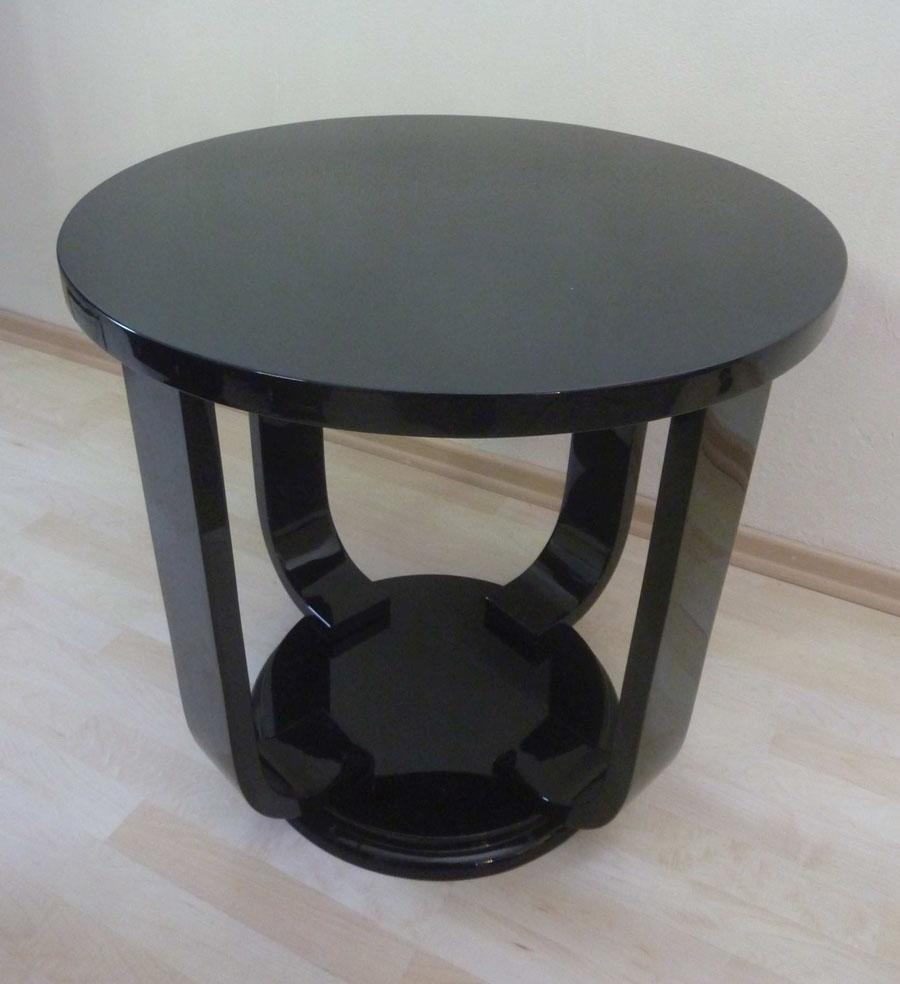 Art DecoBeistelltisch, rund, schwarz