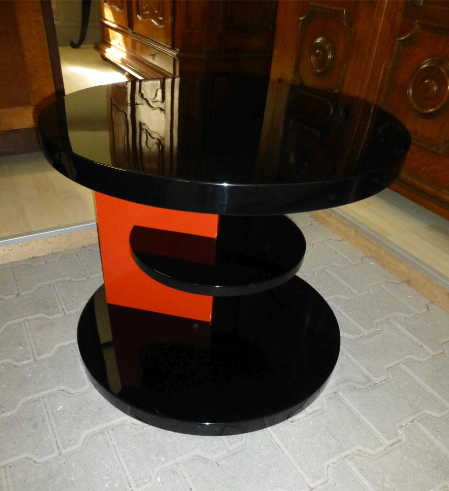 Art Deco Beistelltisch, zweifarbig, schwarz rot