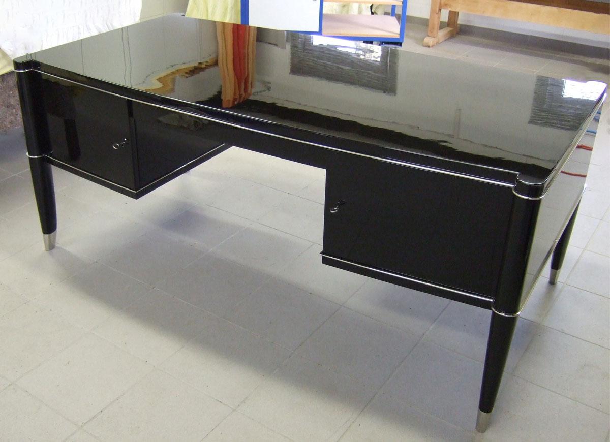 Art Deco Schreibtisch De Cone, schwarz, restauriert