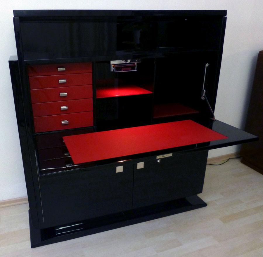 Art Deco Sekretär, schwarz, hochglanz, rotes Glas und rotes Leder