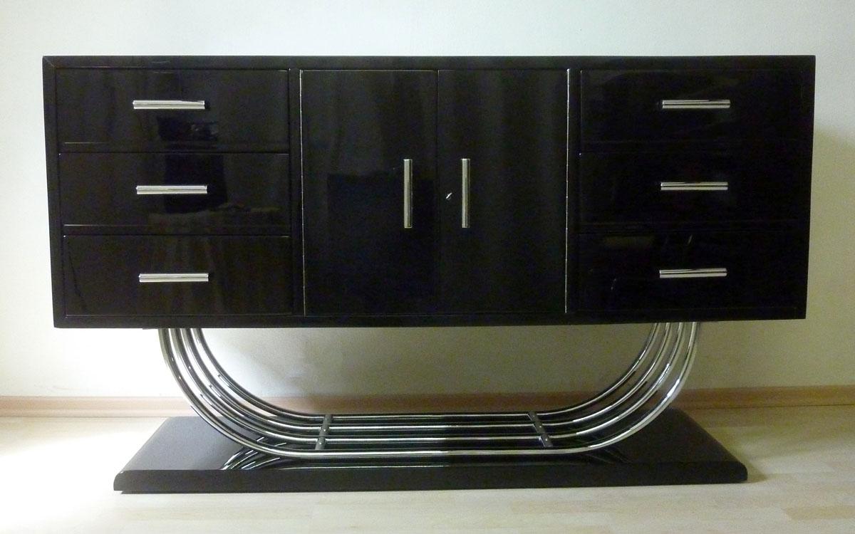 Art Deco Sideboard auf Chromgestell