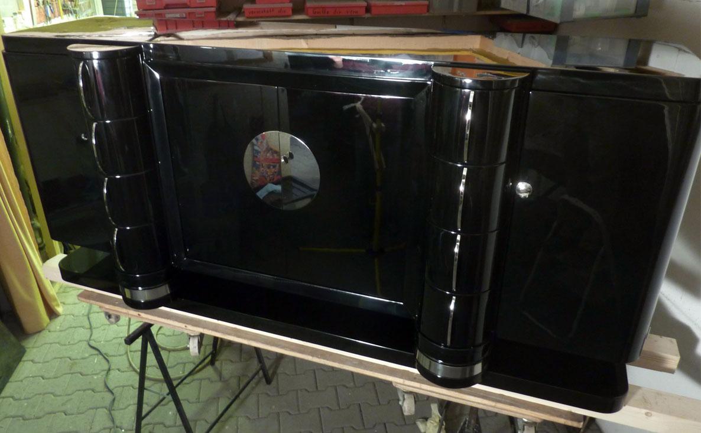 Art Deco Sideboard, schwarz hochglanz