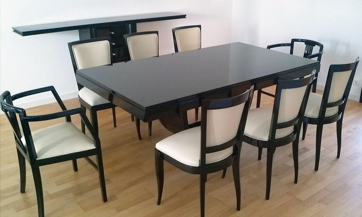 Art Deco Speisezimmer, Esstisch und Stühle