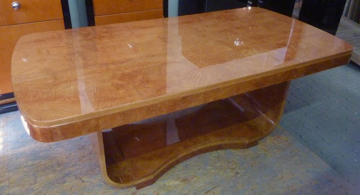 Art Deco Tisch Birke, Wurzelholz, hochglanz poliert