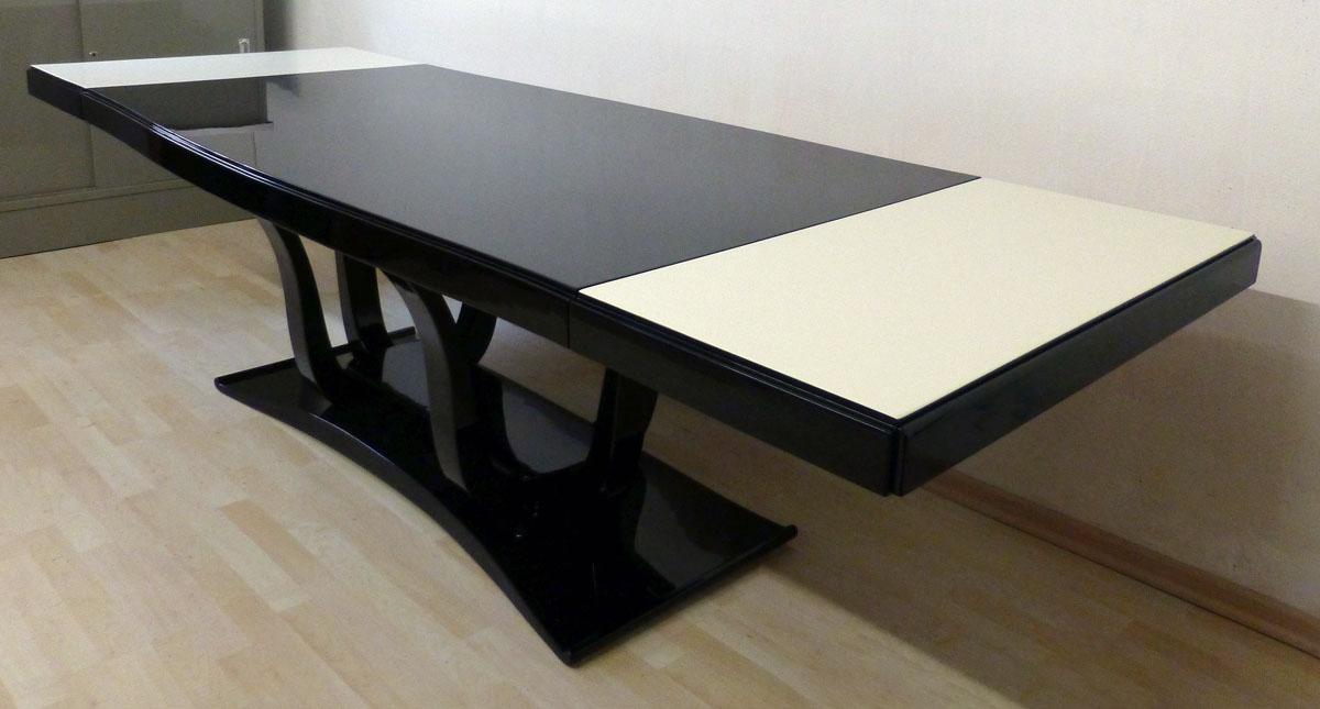 Art Deco Tisch, schwarz hochglanz, mit Anlegeplatten, Oberfläche: hellelfenbein