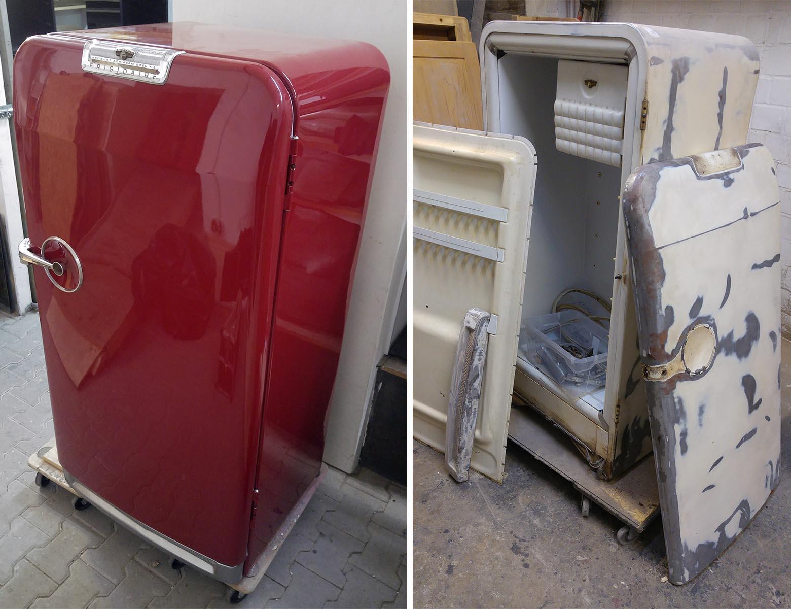 Adam Opel Kühlschrank vor und nach Lackierung