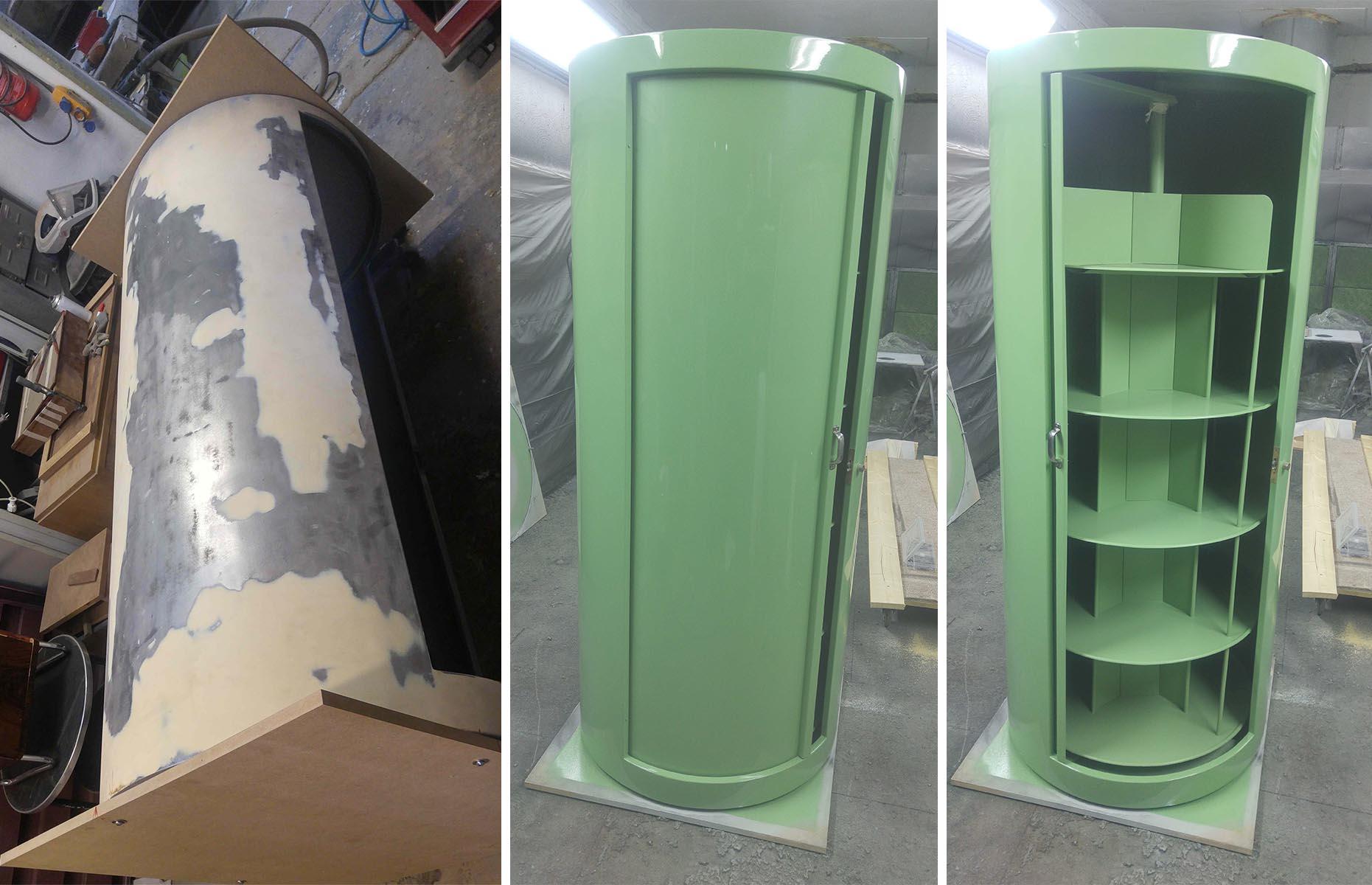 Runder Metallschrank vor und nach grüner Lackierung
