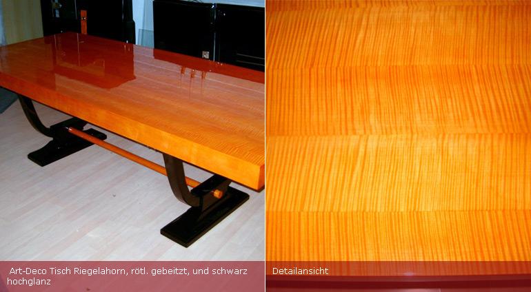 Art-Deco Tisch aus Riegelahorn
